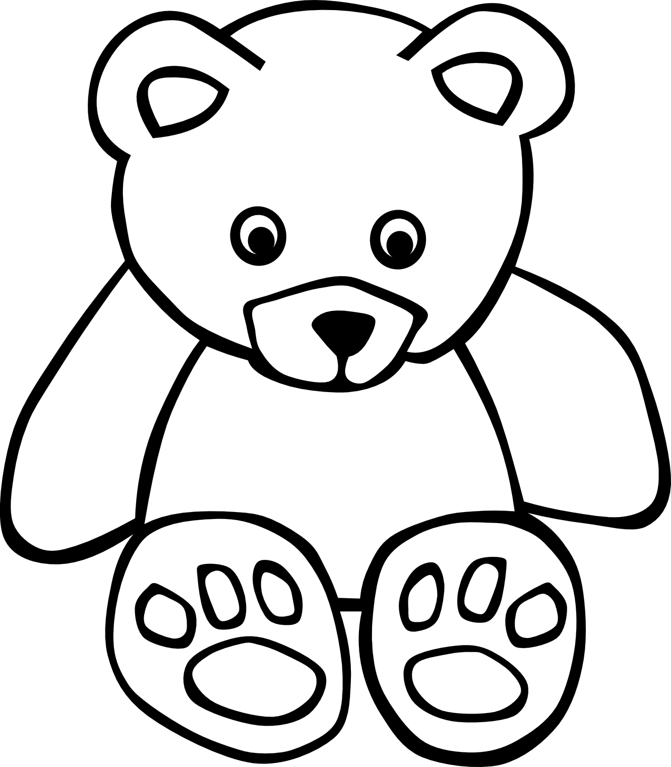Stuffed animal reading clipart black and white.