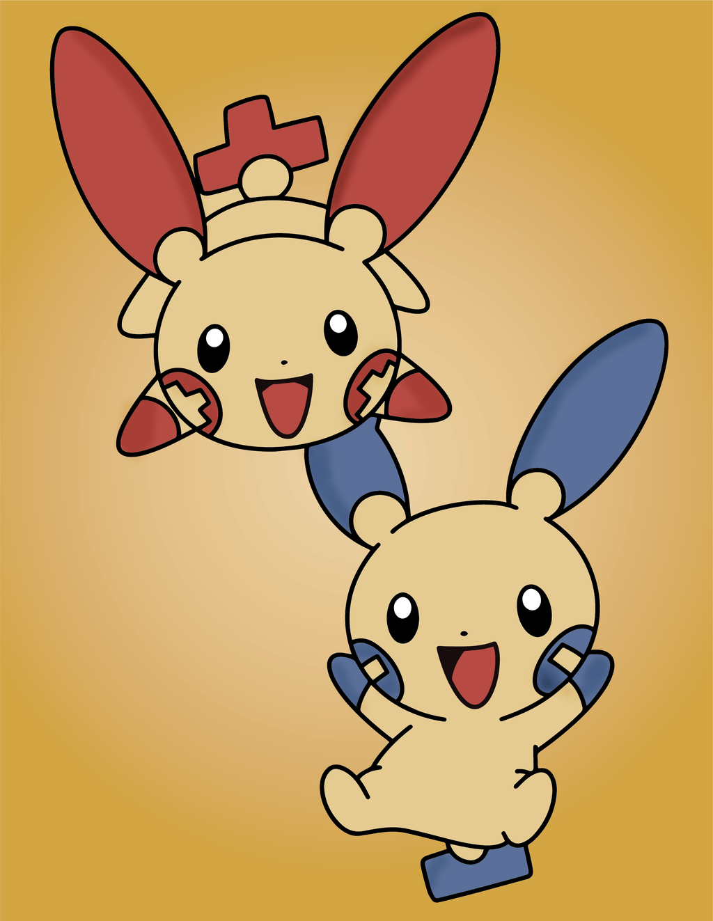 Plusle and Minun! Wallpaper! by Animebirdy on DeviantArt.