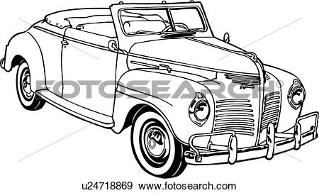 Clip Art of , 1950, automobile, car, classic, deluxe, p.