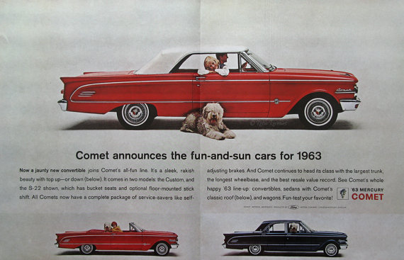 1963 Mercury Comet Ad Shaggy Sheep Dog Red by RetroReveries.