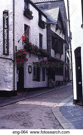 Stock Photo of Cobbled Street Plymouth England UK eng.