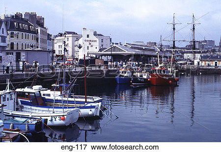 Picture of The Barbican Harbour Plymouth Devon England UK eng.