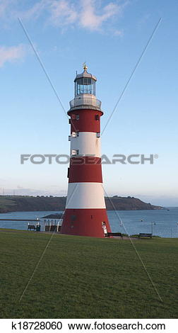 Stock Photography of Smeaton's Tower Lighthouse, Plymouth Hoe.