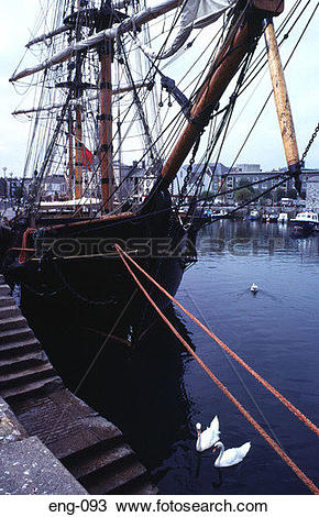 Stock Photo of Sailing Ship at Quayside Plymouth Devon England UK.