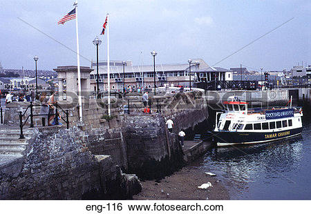Stock Images of Quayside where the Mayflower Set Sail Plymouth UK.