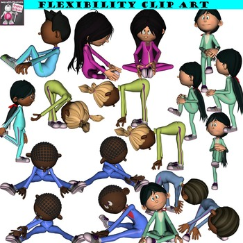 Fitness Clip Art Bundle Including Flexibility, Strength, Locomotor.