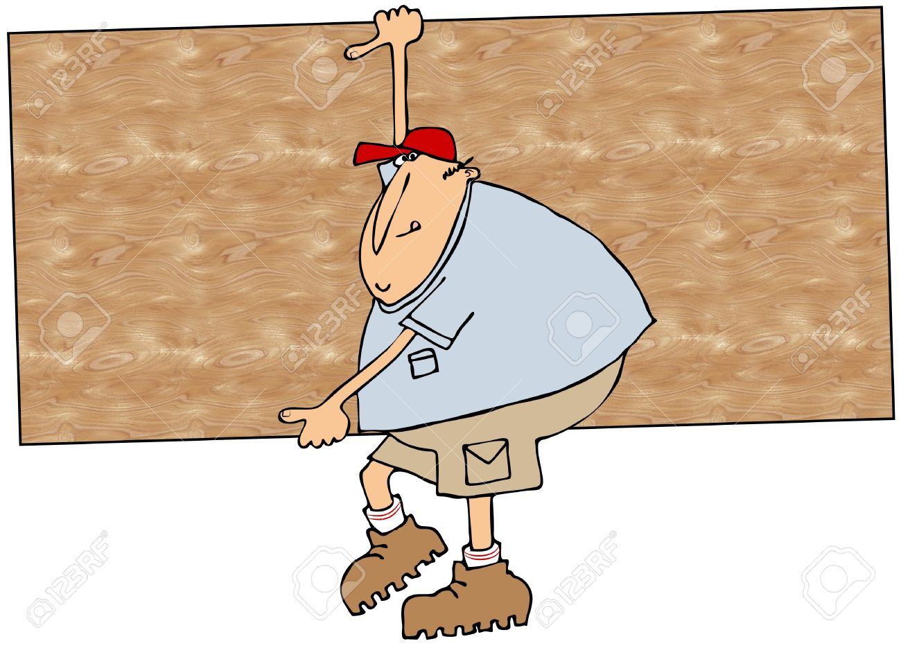 Worker Carrying Plywood Stock Photo, Picture And Royalty Free.