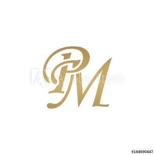 Initial letter PM, overlapping elegant monogram logo, luxury.