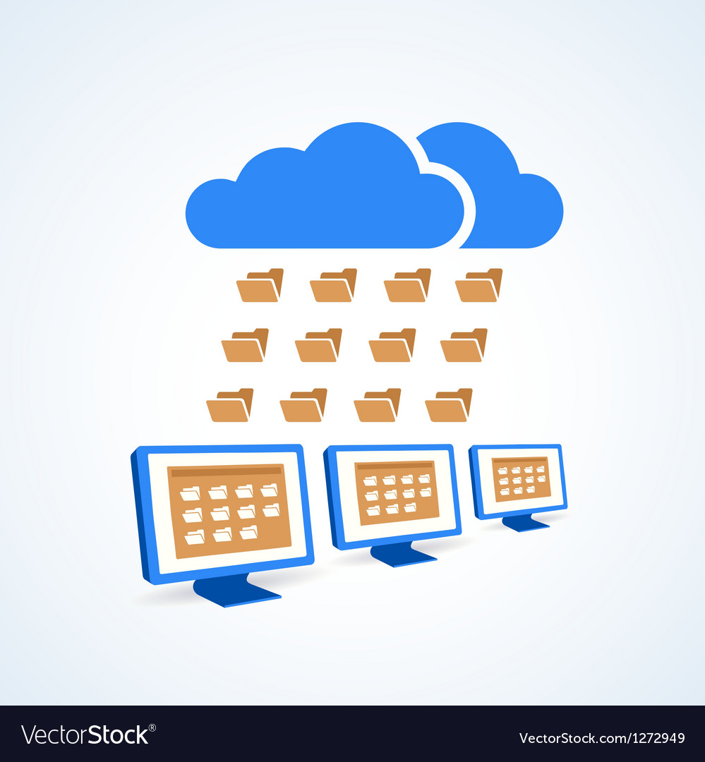 Copmutre desktop pc folder clouds icon.