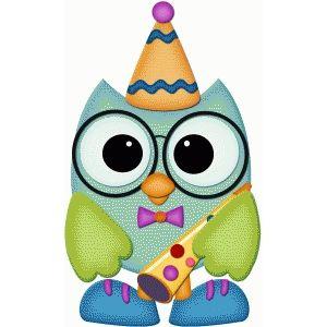Birthday owl w party blower pnc.