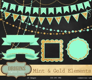 Mint and Gold Banner Party Clipart.