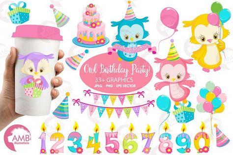 Owl Birthday Surprise clipart, graphics, illustrations AMB.