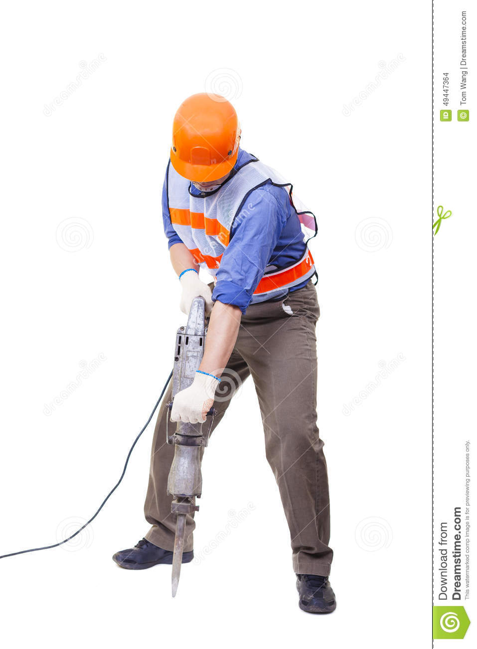 Worker With Pneumatic Hammer Drill Equipment Isolated Stock Photo.