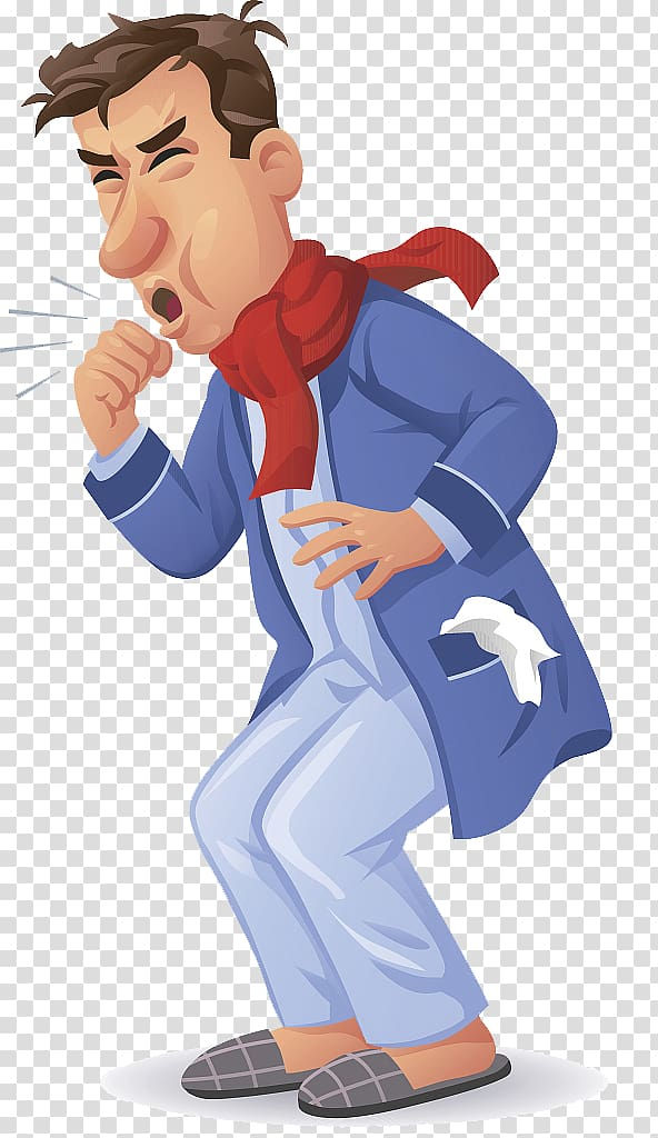 Coughing man wearing red scarf poster, Legionellosis Symptom.