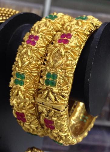 Square Cut Ruby Emerald 1 Gram Gold Bangles.
