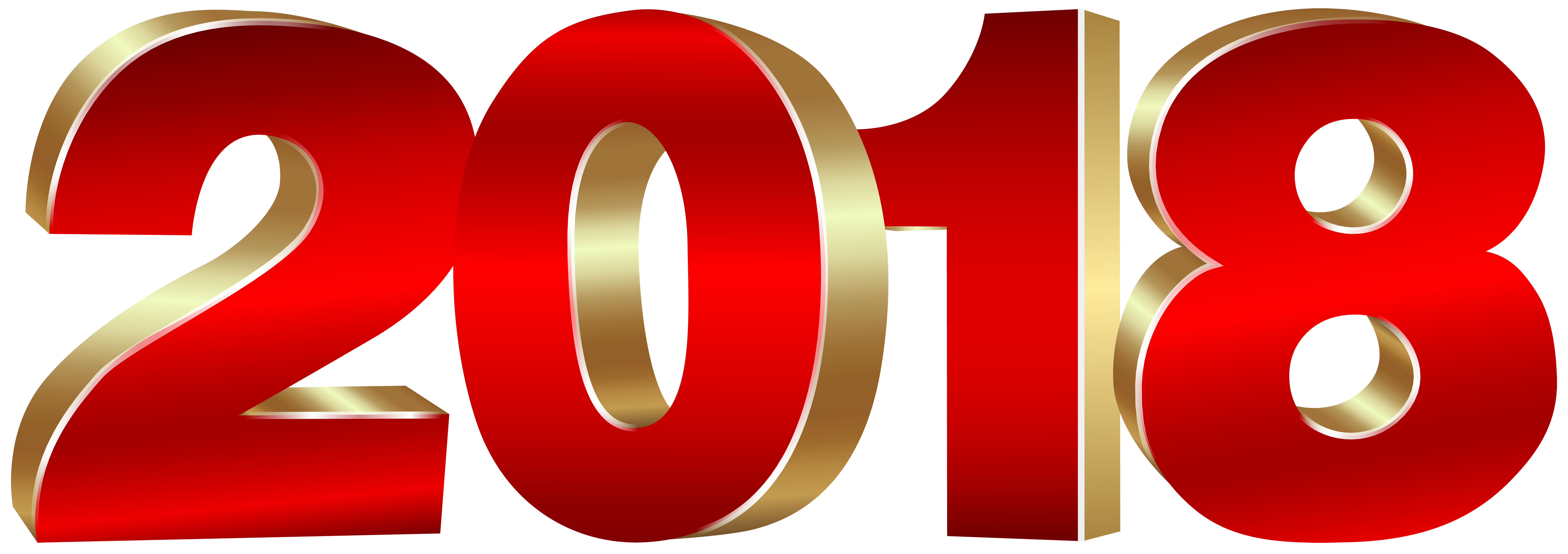 2018 Gold and Red PNG Clipart Image.