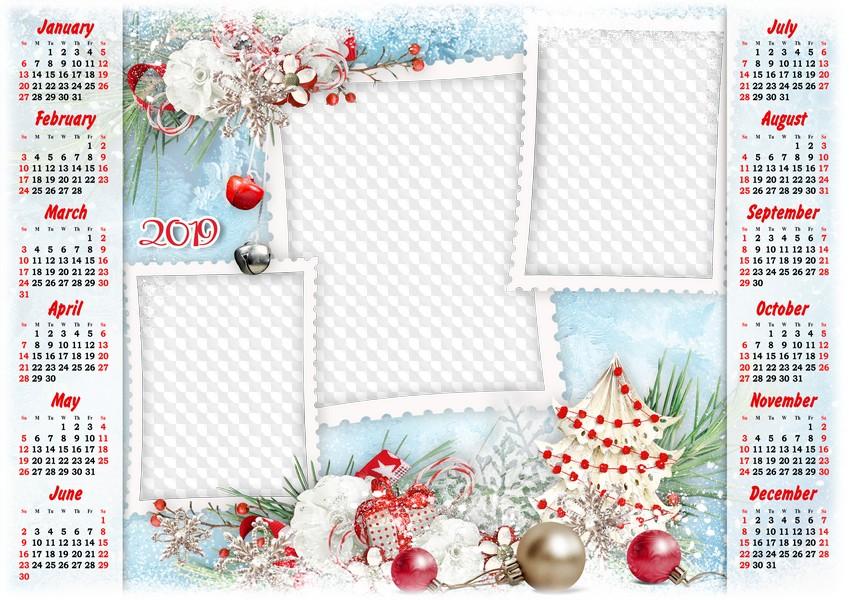 2019 Calendar PSD template, PNG. Calendar for Photoshop..