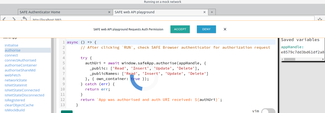 Problem when using safeApp.authorise() function on Peruse.