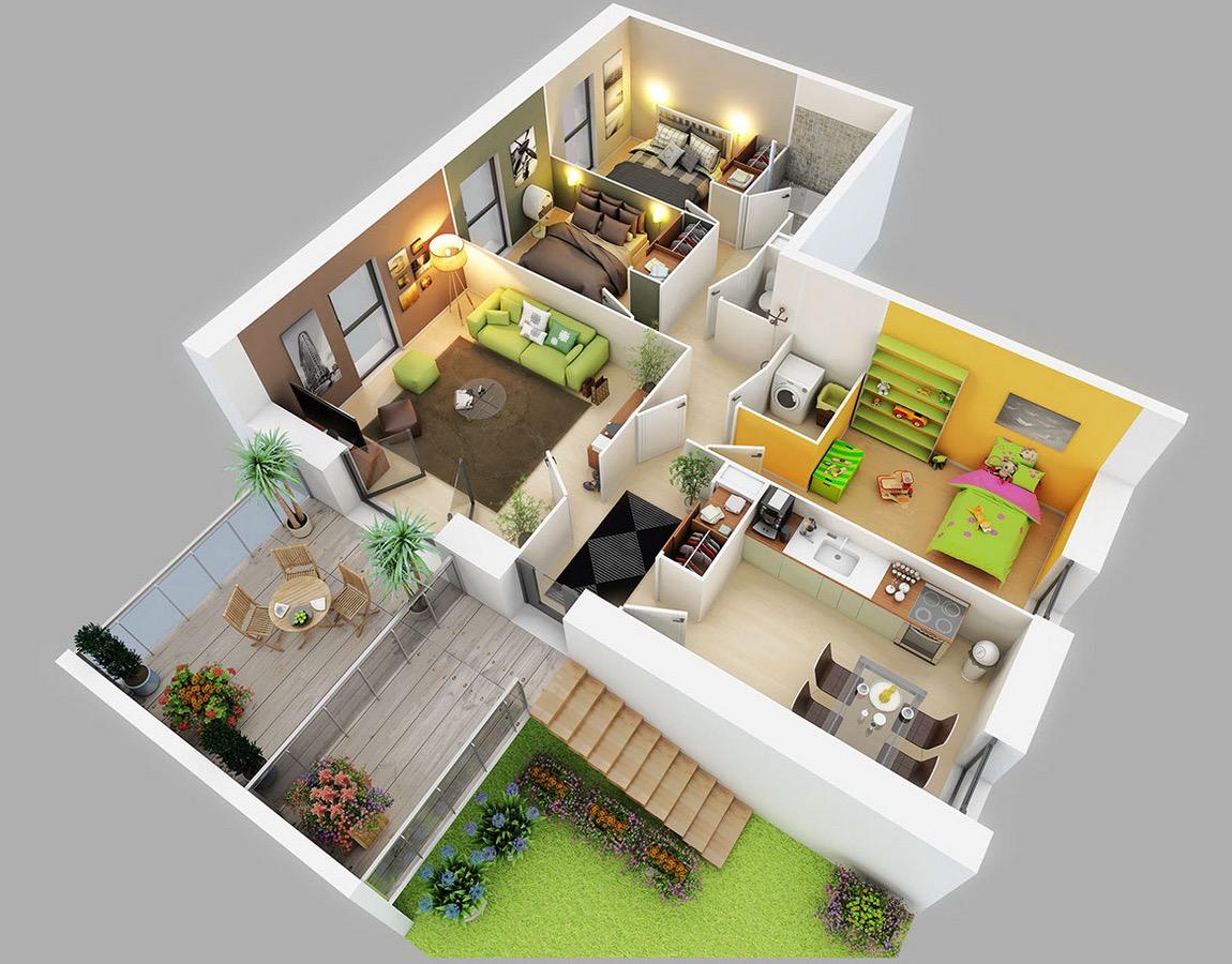 25 Three Bedroom House/Apartment Floor Plans.