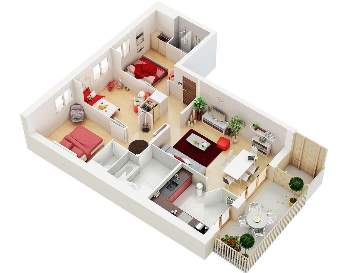 25 Three Bedroom House/Apartment Floor Plans.