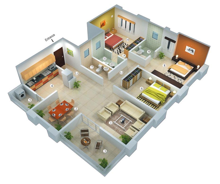 25 More 3 Bedroom 3D Floor Plans.