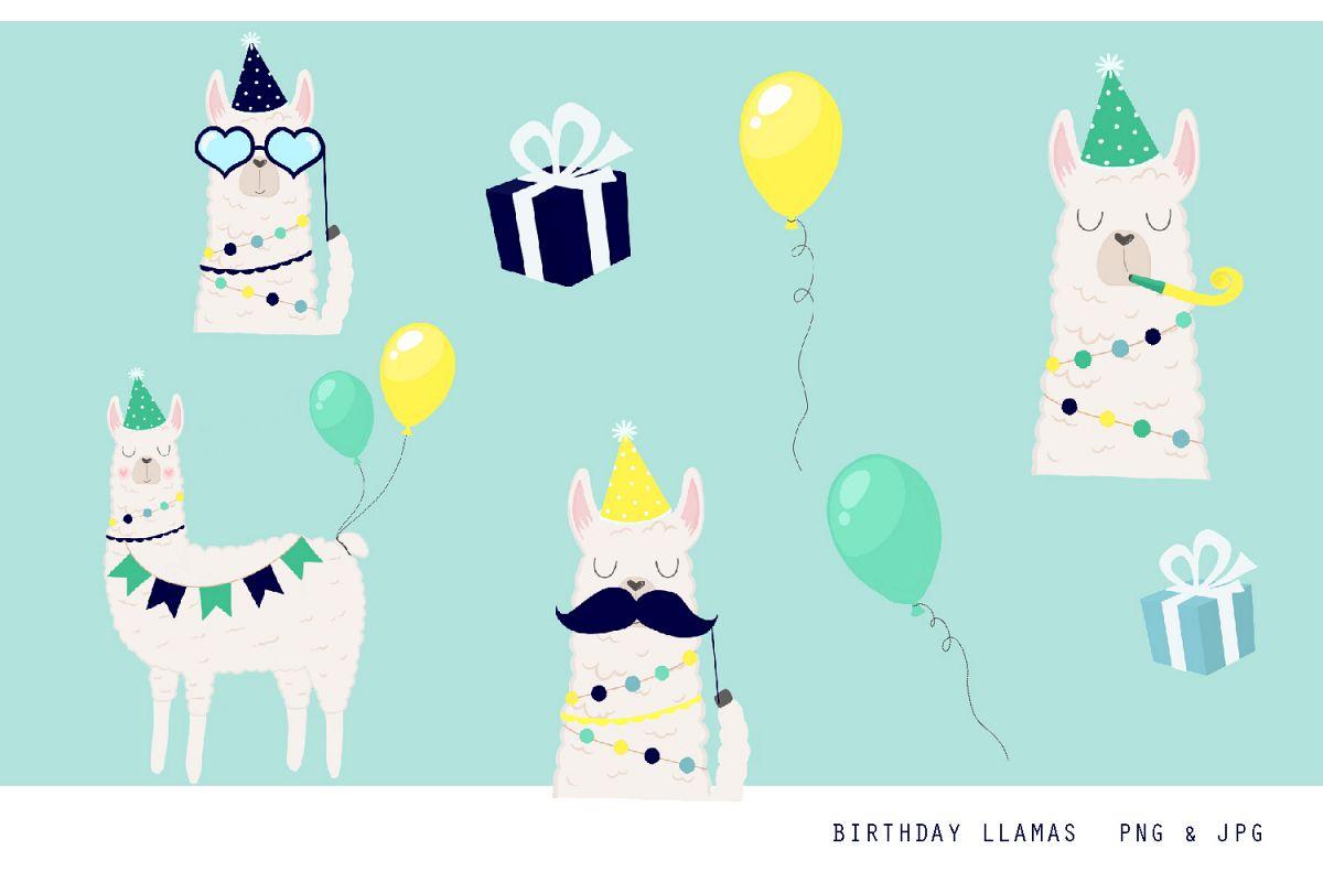 Birthday Llama Clipart Set.
