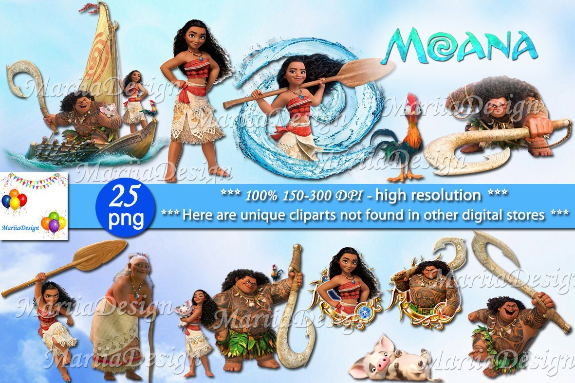 Moana Clipart, 25 PNG.
