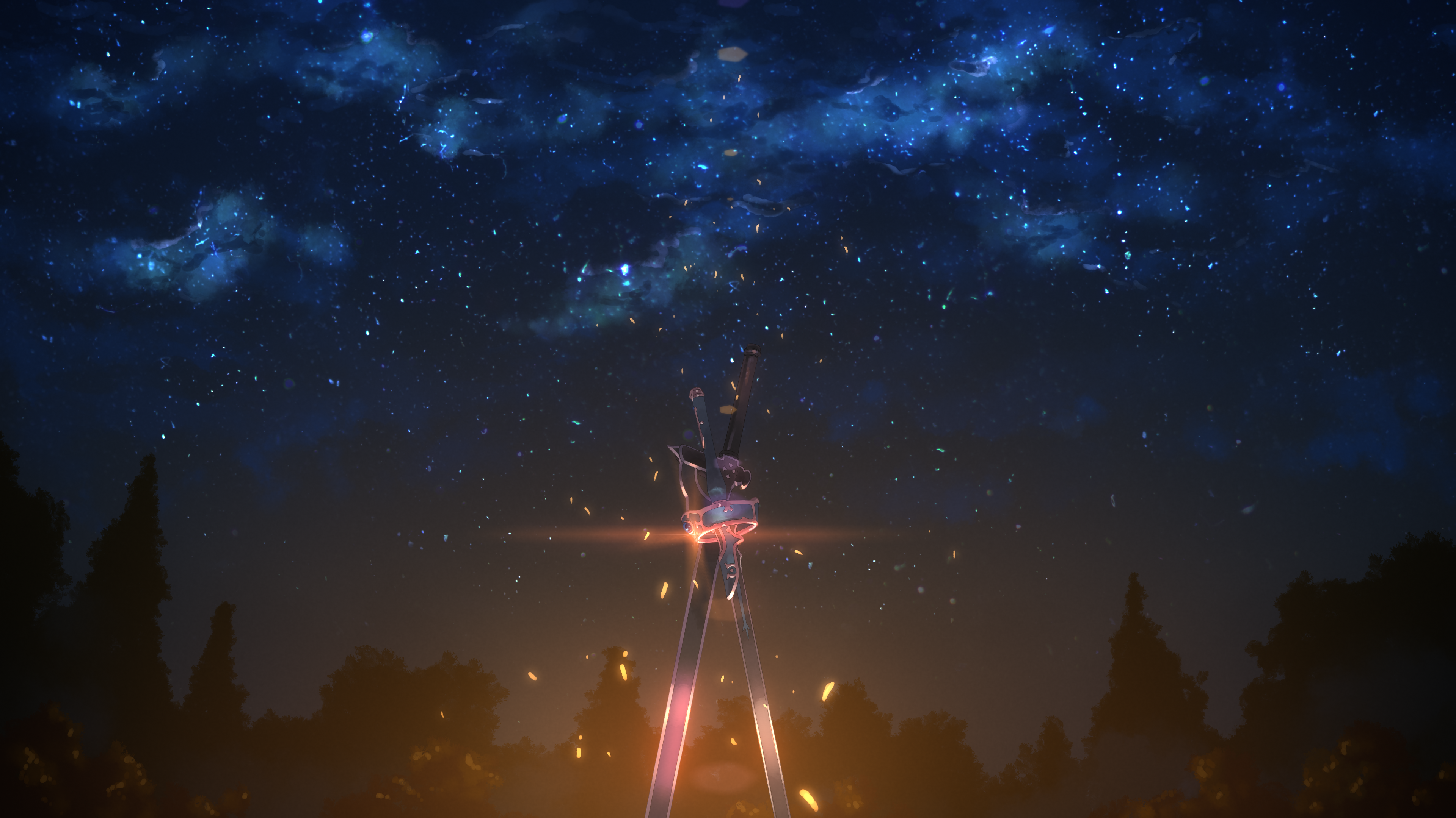 Kirito and Asuna\'s sword 4k Ultra HD Wallpaper.