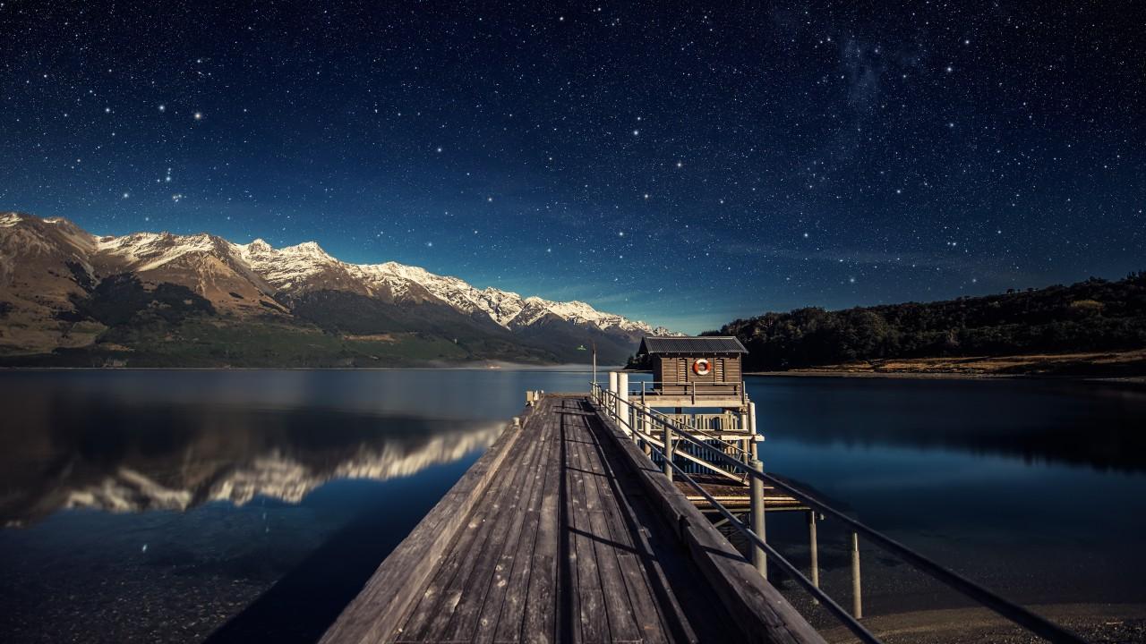 Wallpaper night sky, 5k, 4k wallpaper, stars, mountains.