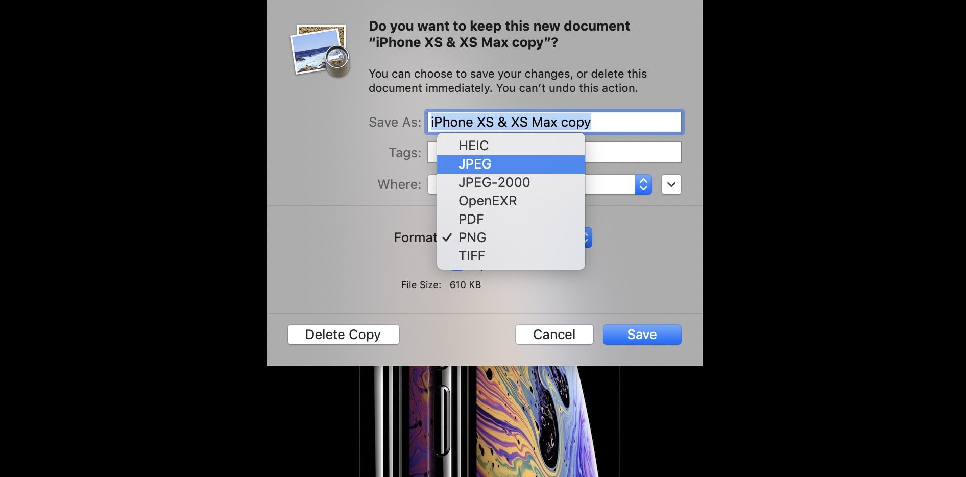 How to convert PNG and TIFF images to JPG on Mac.