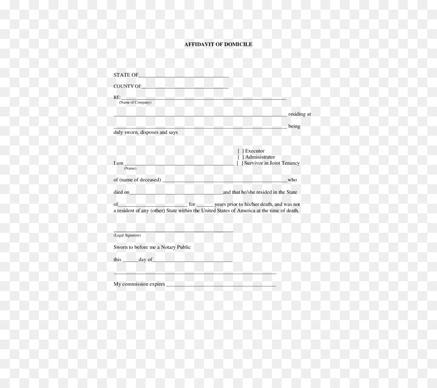 Document Affidavit Template Residency Notary.