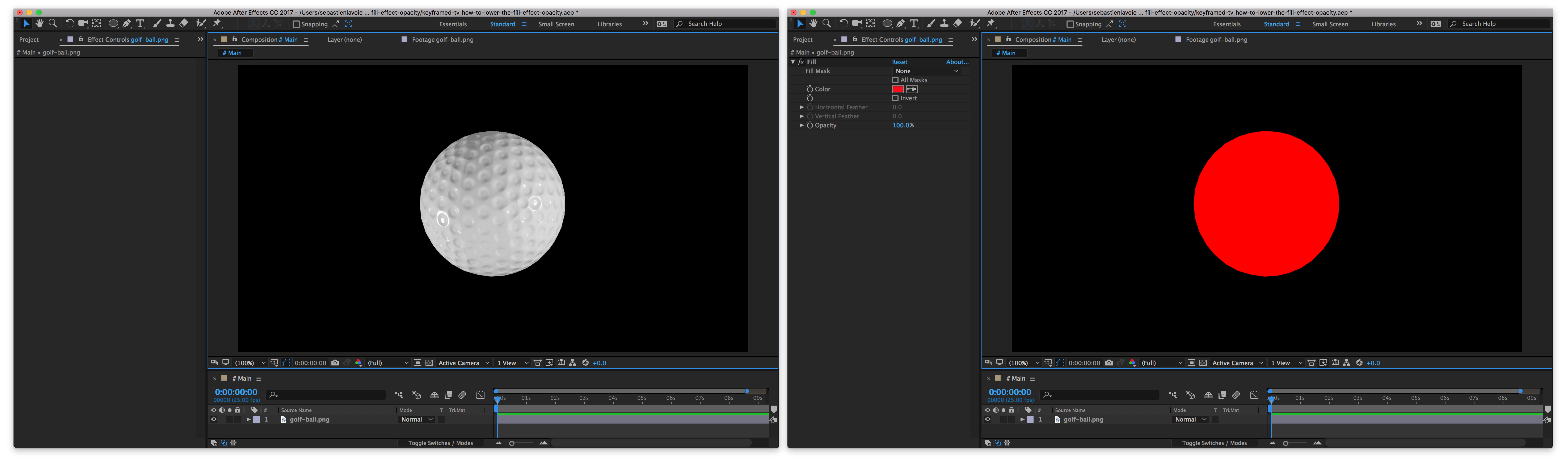 How to lower After Effects Fill effect\'s opacity without.