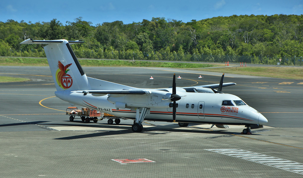 PNG Air DHC Dash 8 100 Series P2 NAZ at Cairns Int Airport.