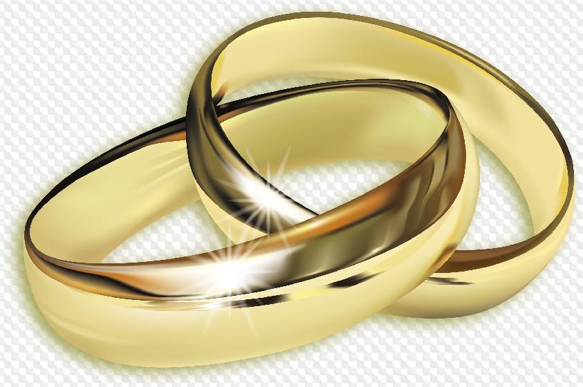 PSD, 5 PNG, anillos de bodas de oro sobre fondo transparente.