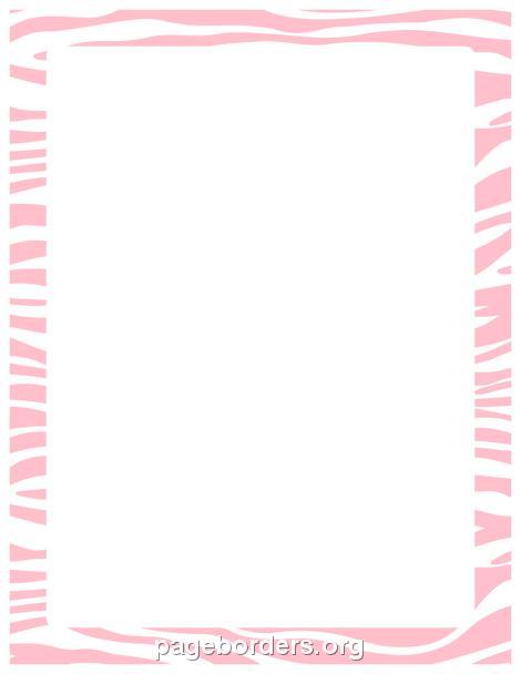 Printable pink zebra print border. Use the border in Microsoft.