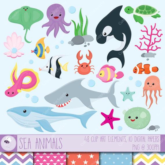 Sea animals clip art set. 48 illustrations PNG/vector 6x6.