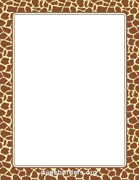 Printable giraffe print border. Use the border in Microsoft Word.