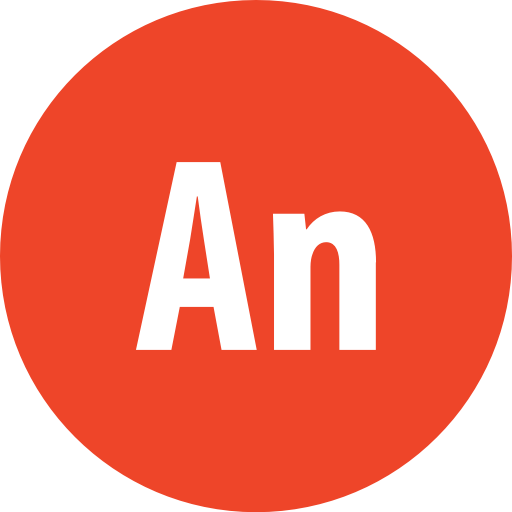 Adobe, animate, round icon.