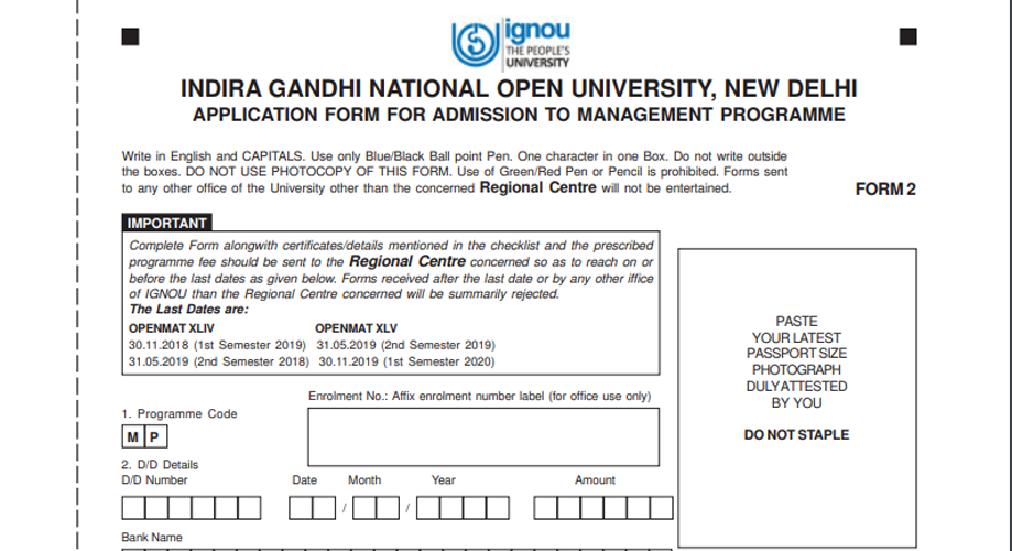 IGNOU Distance MBA Application Forms and Procedure 2019.