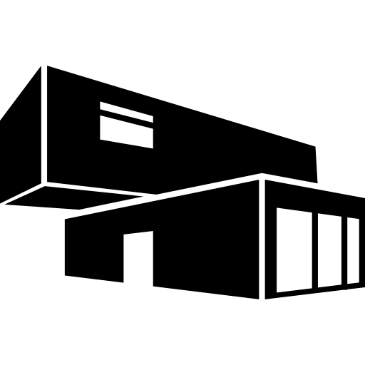 Economic architecture building of stacked containers Icons.