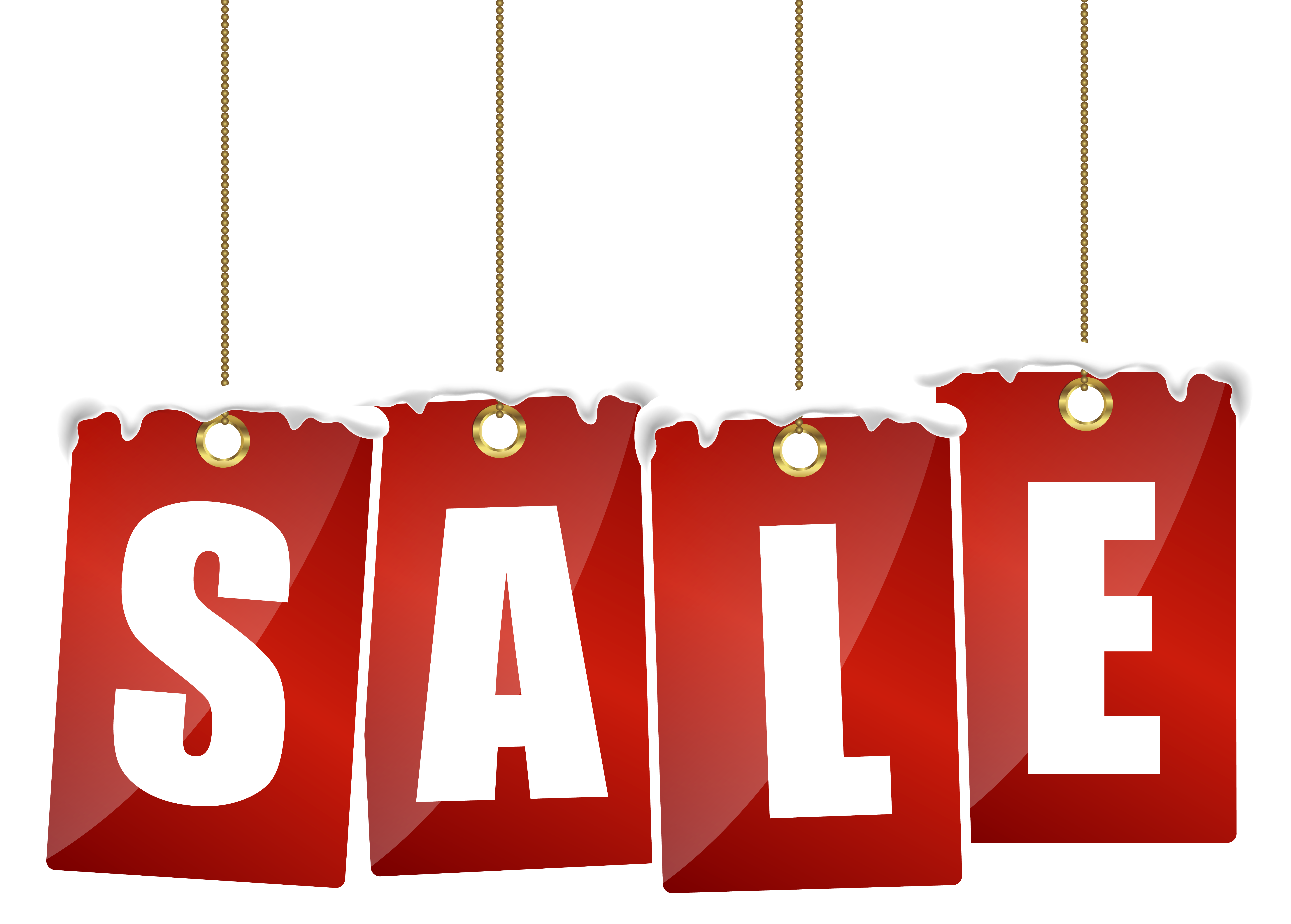 Sale Tags with Snow Transparent PNG Clip Art Image.