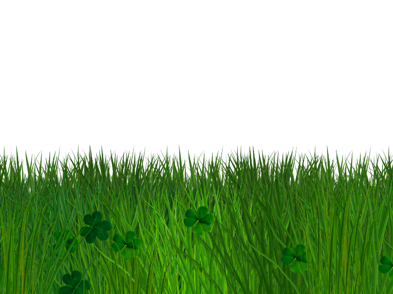 Green Grass and Clover Border with Transparent Background.