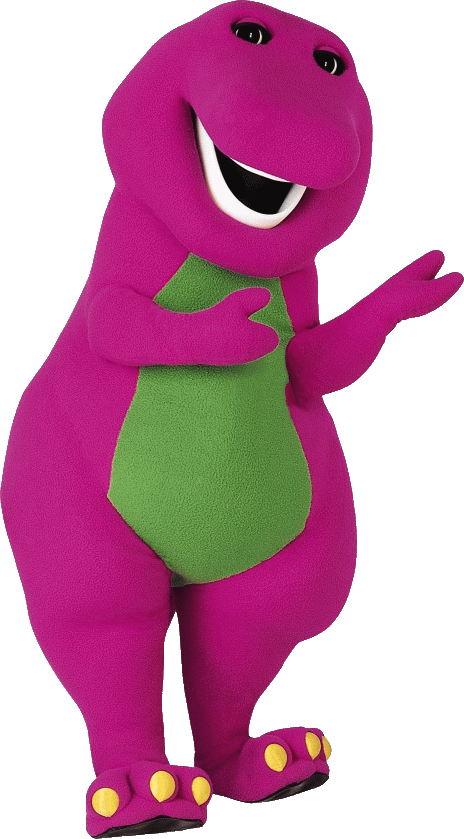 Download Free png barney mascot standing.