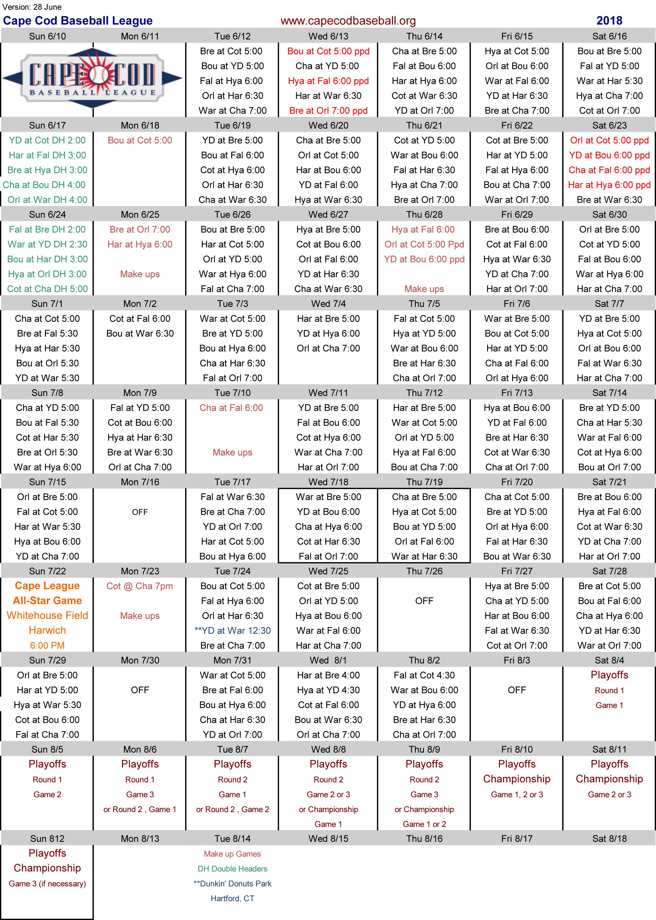 Cape Cod Baseball League 2018 Game Schedule.