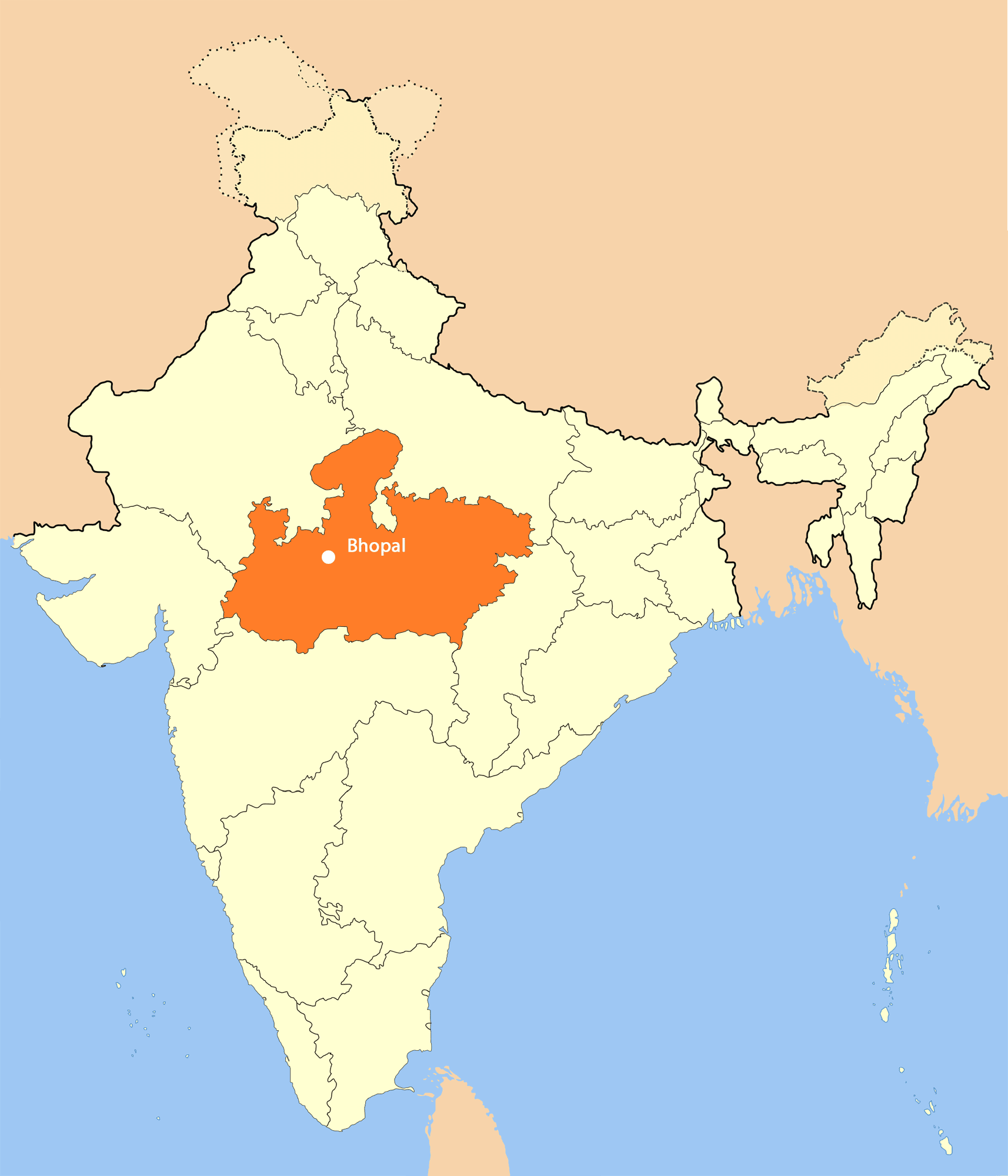Location Map of Bhopal • Mapsof.net.
