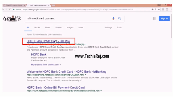 How to pay a credit card bill through BillDesk.