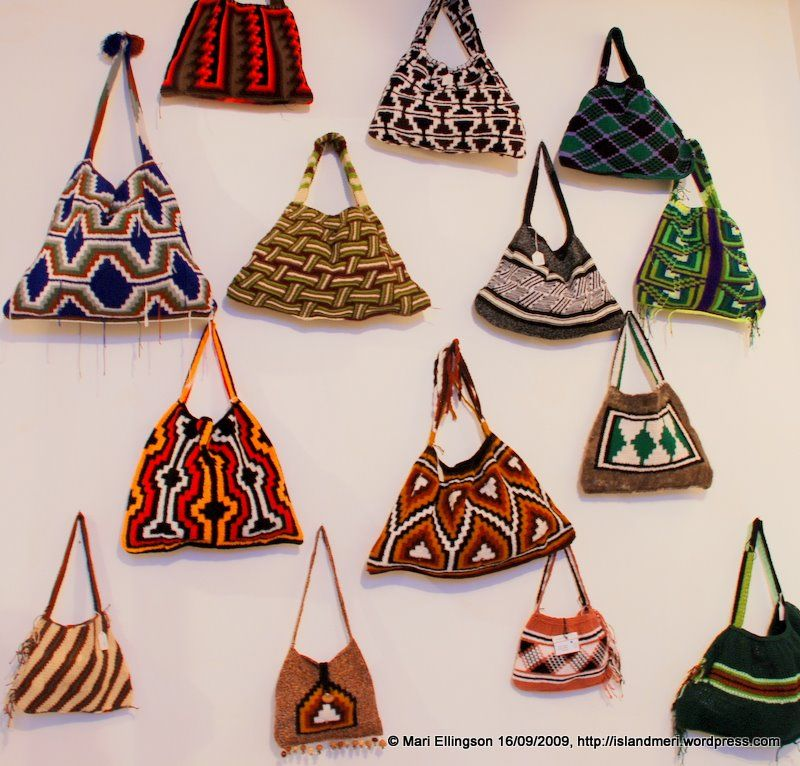 Local wool knitted \'string bags\' (Bilums).