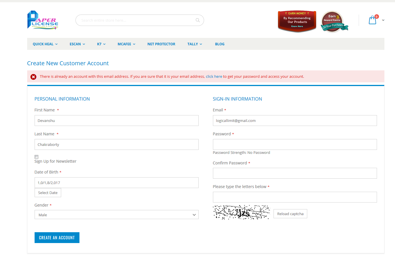 Date of Birth field in customer registration form gets.