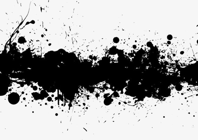 Transverse Black Ink Splash Effect, Splash Clipart, Black.