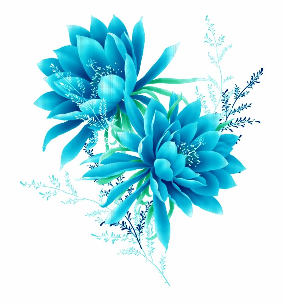 Blue Flower Effect Element Flowers Pixel Clipart.